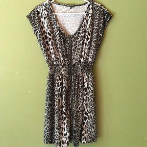 Short and sexy, animal print dress.